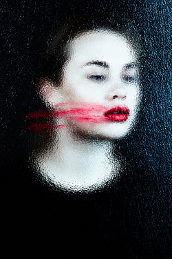 Magdalena Russocka woman with smeared lipstick behind frosted glass Women