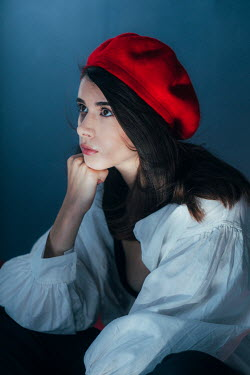 Marta Syrko BRUNETTE GIRL DAYDREAMING IN RED BERET Women