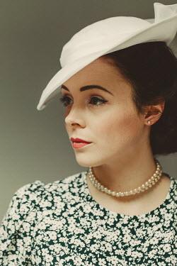 Shelley Richmond BRUNETTE WOMAN IN HAT AND PEARLS Women
