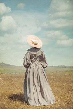 Joanna Czogala HISTORICAL WOMAN WITH STRAW HAT IN COUNTRYSIDE Women