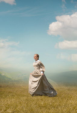 Joanna Czogala BLONDE HISTORICAL WOMAN IN SUMMERY COUNTRYSIDE Women