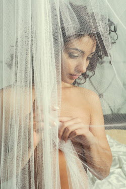 Mohamad Itani MIDDLE EASTERN WOMAN BEHIND NET CURTAINS Women