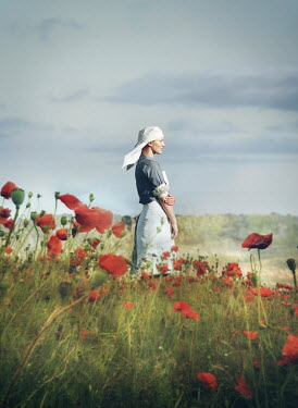 Mark Owen NURSE STANDING IN SUMMERY POPPY FIELD Women
