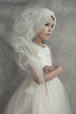 Robin Macmillan LITTLE GIRL IN WHITE SILK DRESS AND VEIL Children
