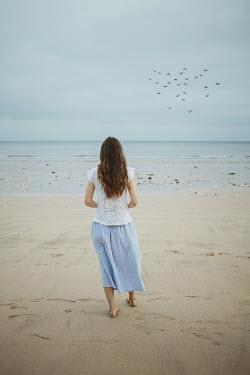 Shelley Richmond BAREFOOT BRUNETTE GIRL ON SANDY BEACH Women