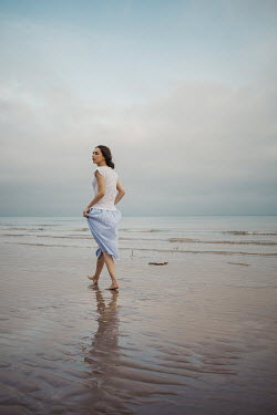 Shelley Richmond BAREFOOT BRUNETTE GIRL ON SANDY BEACH Women