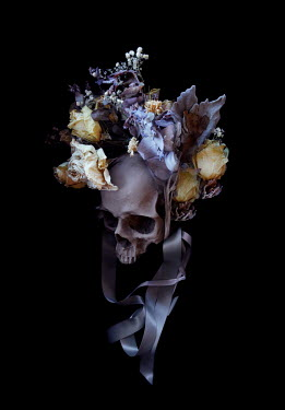 Meg Cowell SKULL WITH FORAL HEADDRESS WITH RIBBONS Flowers