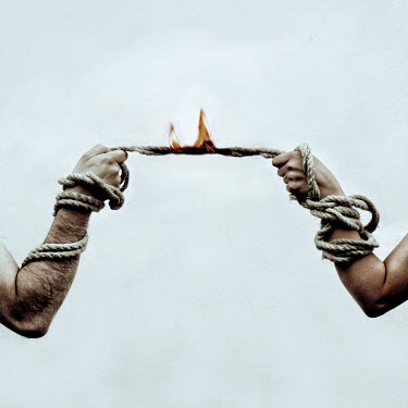 Marko Nadj MALE AND FEMALE HANDS PULLING BURNING ROPE Couples