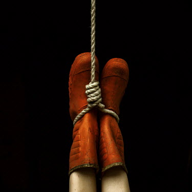 Marko Nadj WOMAN IN RUBBER BOOTS HANGING BY ROPE UPSIDE DOWN Women