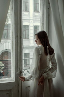 Svitozar Bilorusov GIRL IN WHITE BY GLASS DOORS AND BALCONY Women