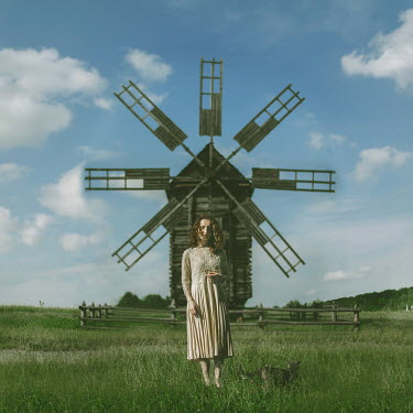 Svitozar Bilorusov WOMAN AND CAT STANDING BY WINDMILL IN SUMMER Women