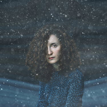 Svitozar Bilorusov SERIOUS WOMAN WITH CURLY HAIR IN SNOW Women