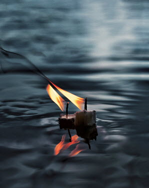 Marko Nadj CANDLES WITH FLAMES FLOATING ON WATER Miscellaneous Objects
