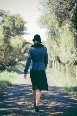 Marie Carr WOMAN IN HAT WALKING IN SUMMERY COUNTRY LANE Women