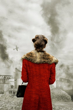Stephen Mulcahey RETRO WOMAN WATCHING PLANE AND BOMBED BUILDINGS Women