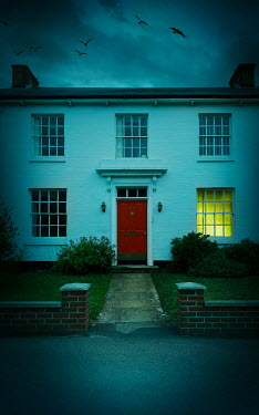 Stephen Mulcahey LIGHT SHINING IN WINDOW OF HOUSE AT DUSK Houses