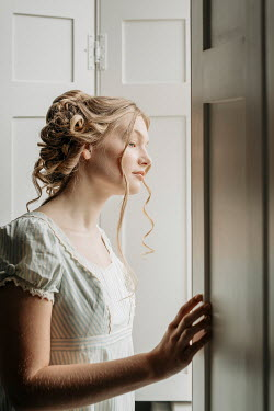 Shelley Richmond REGENCY WOMAN STANDING BY WINDOW WITH SHUTTERS Women