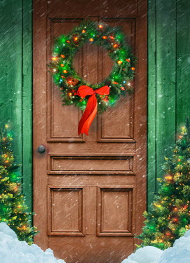 Sandra Cunningham DOOR WITH CHRISTMAS WREATH TREES AND LIGHTS IN SNOW Building Detail