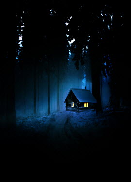 Sandra Cunningham CABIN WITH LIGHTS IN WINTERY FOREST AT NIGHT Houses