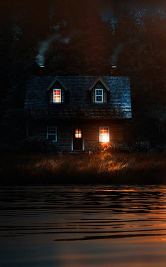 Sandra Cunningham HOUSE WITH LIGHTS IN WINDOWS BY LAKE AT NIGHT Houses