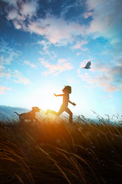 Sandra Cunningham SILHOUETTED BOY AND DOG RUNNING IN FIELD AT DUSK Children