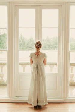 Shelley Richmond BLONDE REGENCY WOMAN INSIDE BY GLASS DOORS Women