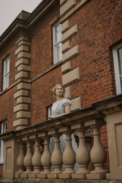 Shelley Richmond BLONDE REGENCY WOMAN ON BALCONY OF GRAND HOUSE Women