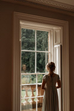 Shelley Richmond BLONDE REGENCY WOMAN INDOORS BY WINDOW WITH GARDEN Women