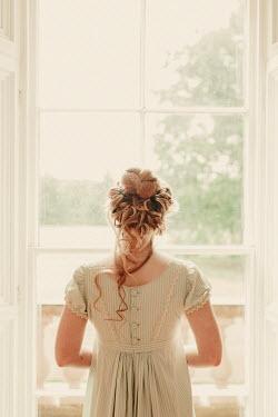 Shelley Richmond BLONDE REGENCY WOMAN INDOORS WATCHING AT WINDOW Women