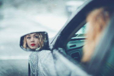 Evelina Kremsdorf BLONDE WOMAN IN CAR REFLECTED IN MIRROR Women