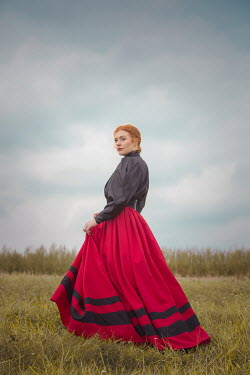 Joanna Czogala HISTORICAL WOMAN WITH RED AHIR IN COUNTRYSIDE Women