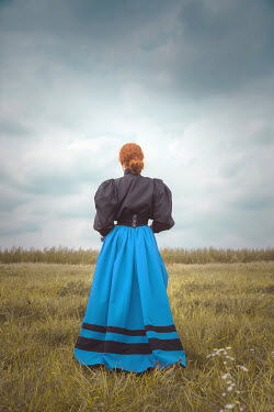 Joanna Czogala HISTORICAL WOMAN WITH RED HAIR IN COUNTRYSIDE Women