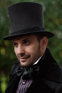 Maxim Guselnikov VICTORIAN MAN IN TOP HAT OUTDOORS Men