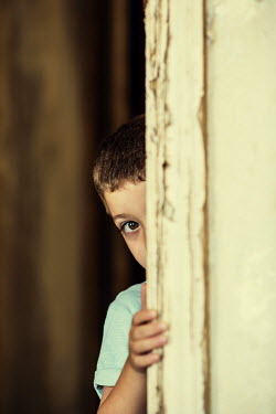 Mohamad Itani LITTLE BOY PEEPING BEHIND DOORWAY Children