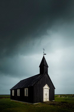 Evelina Kremsdorf SMALL WOODEN CHURCH WITH STORMY SKY Religious Buildings
