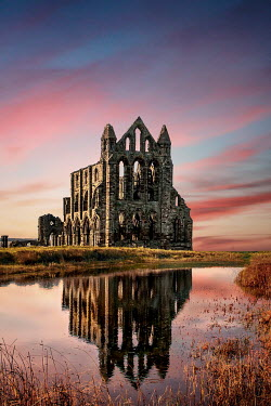 Evelina Kremsdorf RUINED ABBEY BY RIVER AT SUNSET Religious Buildings