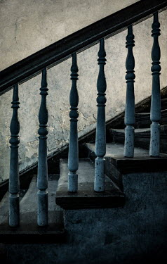 Jaroslaw Blaminsky OLD SHABBY WHITE WOODEN STAIRCASE Stairs/Steps