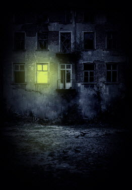 Jaroslaw Blaminsky LIGHT SHINING IN DERELICT BUILDING AT NIGHT Houses