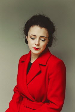 Shelley Richmond SAD BRUNETTE WOMAN IN RED COAT Women