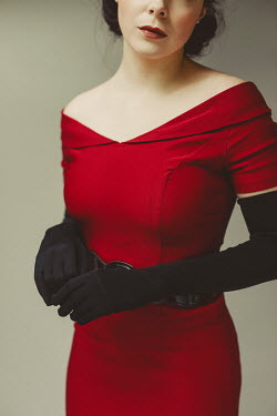 Shelley Richmond WOMAN IN RED DRESS WITH LONG GLOVES Women