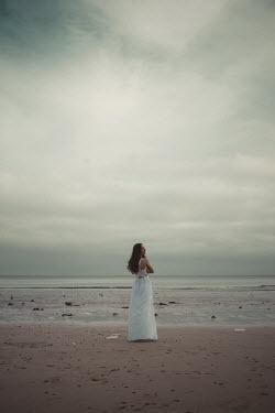 Shelley Richmond BRUNETTE WOMAN WITH WHITE DRESS BY SEA Women