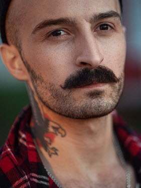 Maxim Guselnikov MAN WITH MOUSTACHE AND NECK TATTOO Men