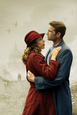 CollaborationJS EMBRACING WARTIME COUPLE IN BOMBED CITY WITH PLANES Couples