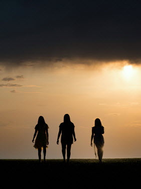 Elisabeth Ansley THREE SILHOUETTED FEMALES WALKING IN FIELD AT SUNSET Women