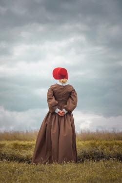 Joanna Czogala BLONDE WOMAN WITH BONNET IN COUNTRYSIDE Women