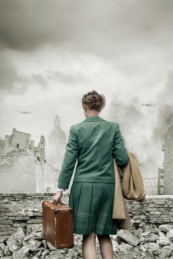 Stephen Mulcahey WOMAN CARRYING SUITCASE WATCHING BOMBED BUILDINGS AND PLANES Women