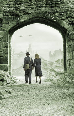 Stephen Mulcahey WARTIME COUPLE WALKING IN BOMBED CITY WITH PLANES Couples