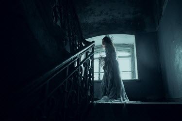 Ekaterina Pavlova WOMAN IN WHITE GOWN ON OLD STAIRCASE Women