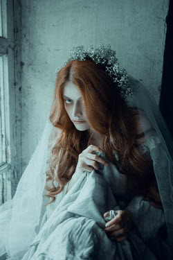 Ekaterina Pavlova WOMAN WITH RED HAIR IN WEDDING GOWN BY WINDOW Women