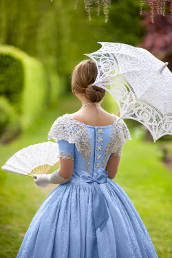 Lee Avison VICTORIAN WOMAN WITH FAN AND PARASOL IN GARDEN Women